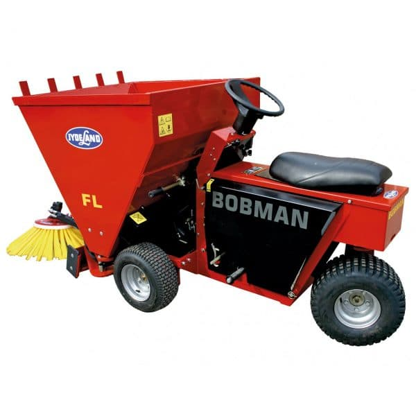 BOBMAN Machines spreader, scraper, sweeper and feed turning machine (side view).