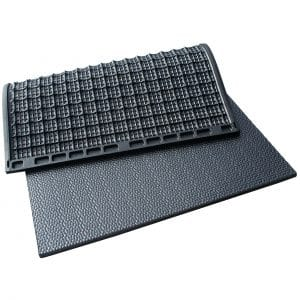 Kraiburg KIM individual stall mats with pebbled surface.
