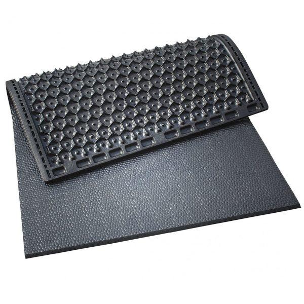 Kraiburg KKM individual stall mats with pebbled surface.