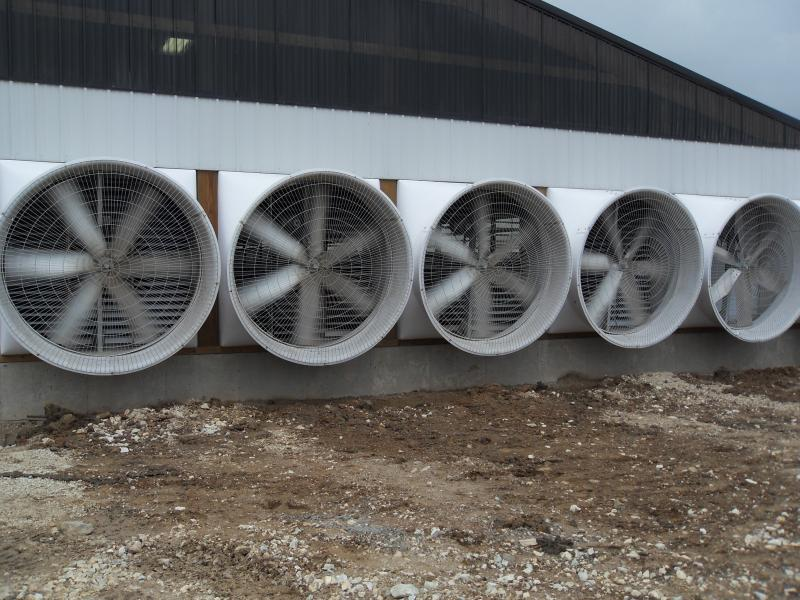Exhaust fan blades moving on Orthland Dairy Farm LLC in Cleveland, WI