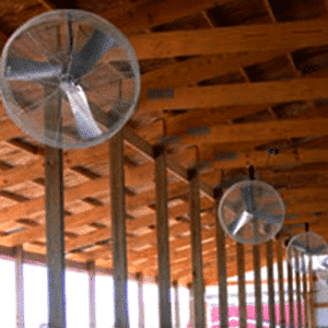 "Agro Air Dynamics: 36"" Basket Fan, recirculating air flow."