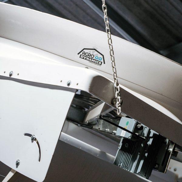 Agro Air Dynamics barn recirculating fan in use (close-up).