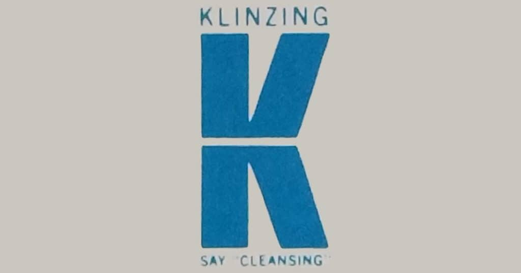 "Klinzing ""K"" logo: SAY ""CLEANSING""."