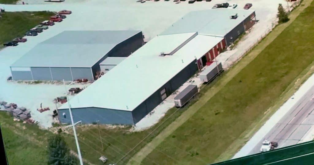 Overhead view of Agromatic Inc. building in the 1970s.