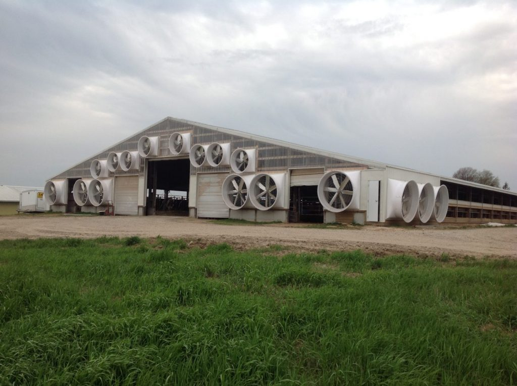 Cow barn exhaust fans (3/4 view).