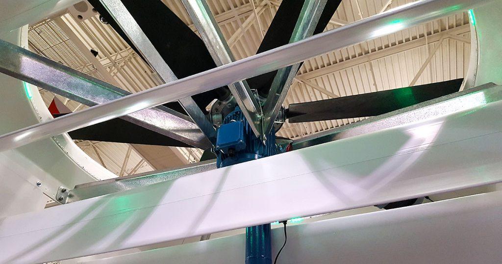 Agro Air Dynamics direct drive cyclone ceiling fan.