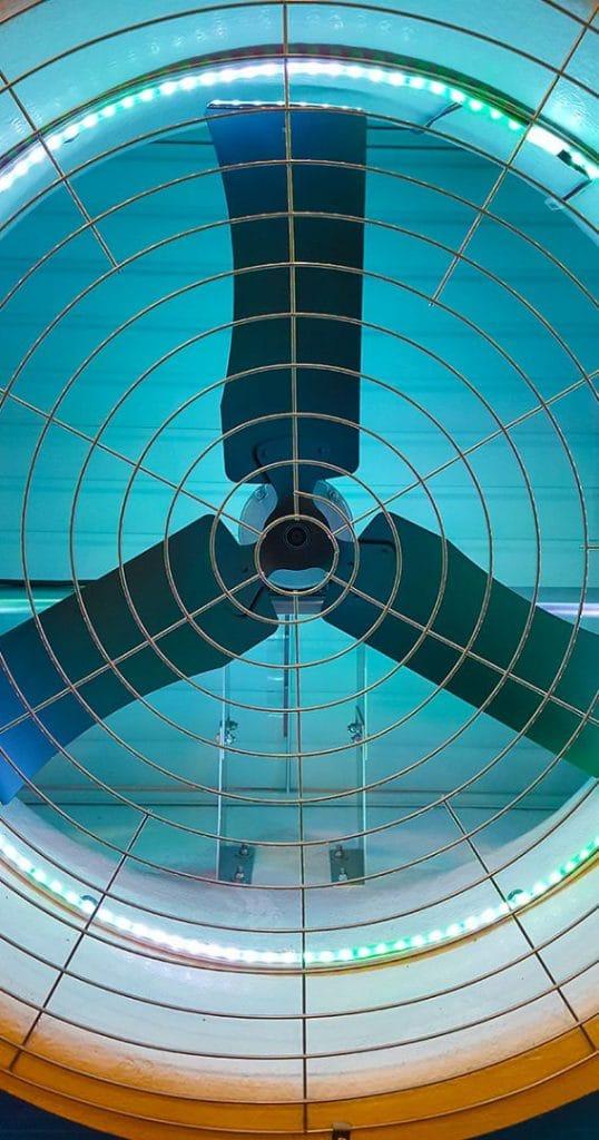 Agro Air Dynamics direct drive fan with aqua LEDs.
