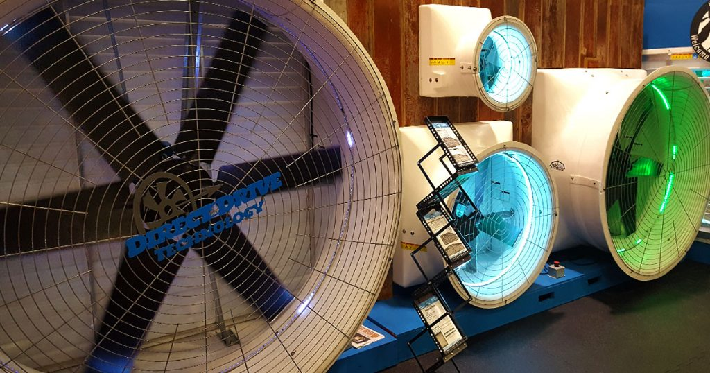 Agro Air Dynamics direct drive fans display.