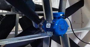Permanent Magnet Alternating Current (PMAC) Direct Drive Barn Fan back.