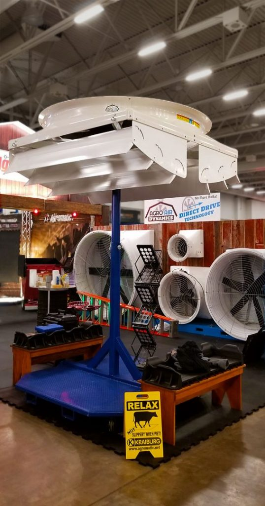 World Dairy Expo 2018 PMAC Direct Drive Fans reveal ceiling fan display.