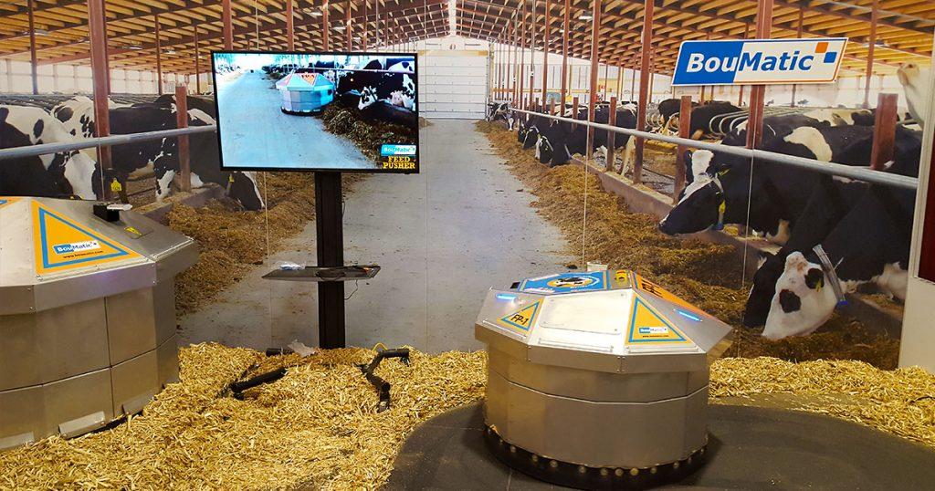 BouMatic robotic feed pusher display at World Dairy Expo 2018.