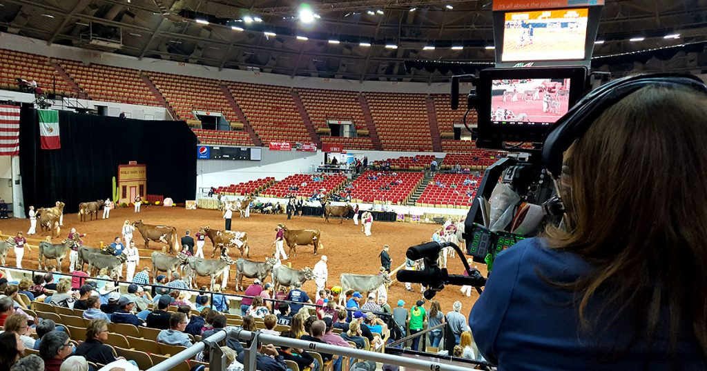 Dairy Cattle Show TV camera at World Dairy Expo 2018.
