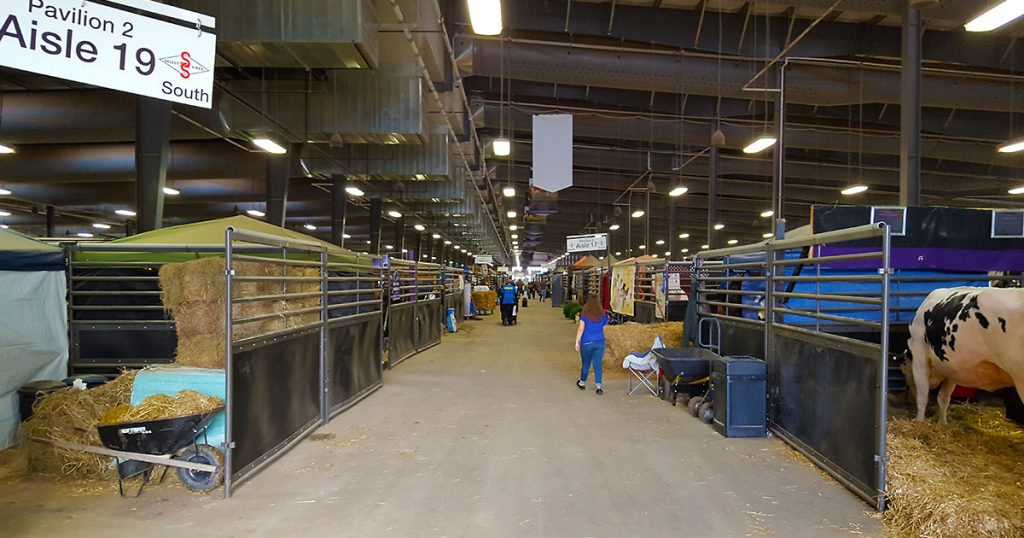 World Dairy Expo 2018 cow pavilion 2 main walkway by Aisle 19.