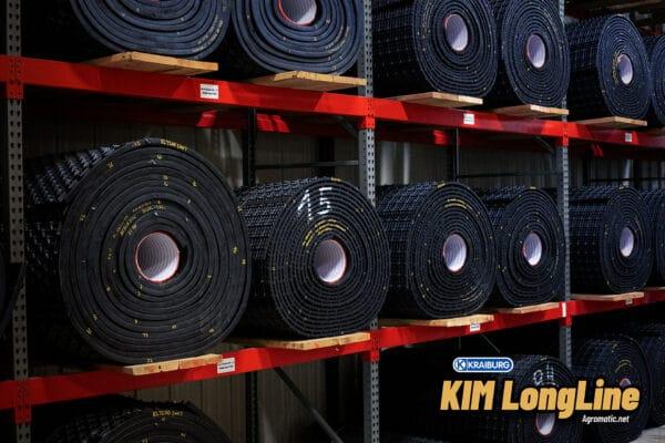 KRAIBURG stall mat rolls in the Agromatic warehouse.